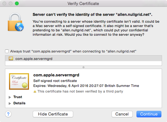 Server.app Certificate Failure